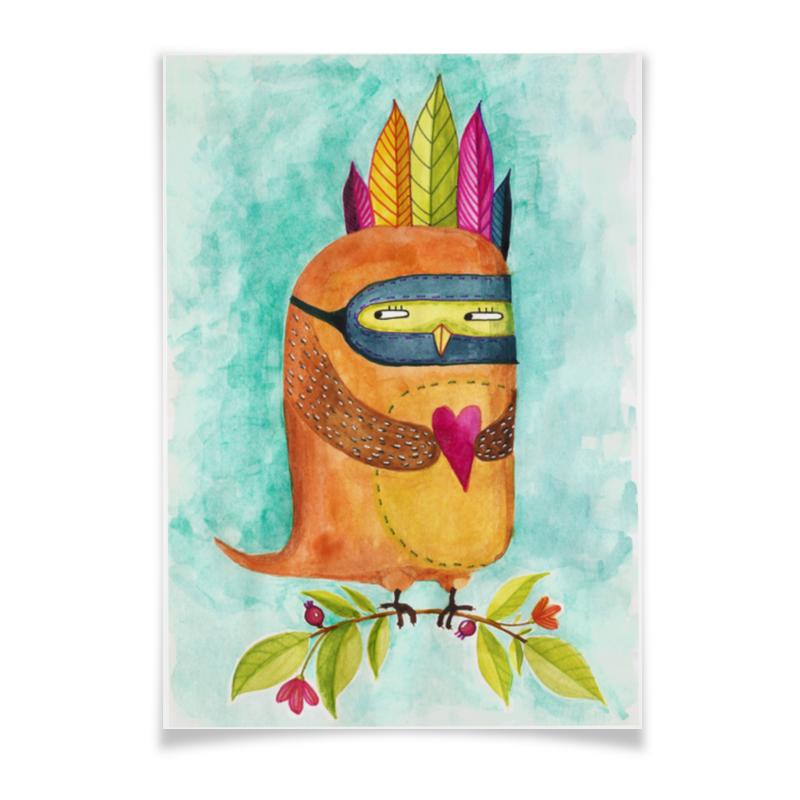 Плакат A3(29.7x42) Printio Рыжая сова индеец чехол для samsung galaxy s3 printio рыжая сова индеец