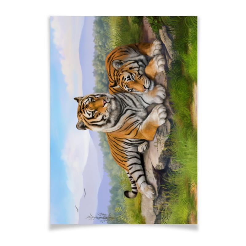 Плакат A3(29.7x42) Printio Тигры плакат a3 29 7x42 printio рисунок дедпула