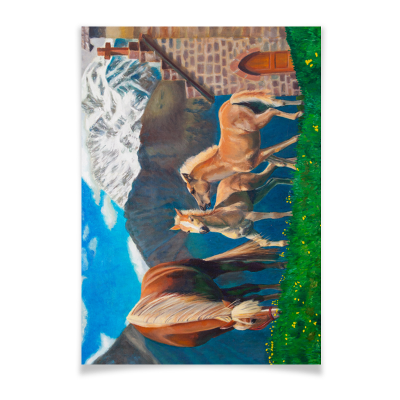 Плакат A3(29.7x42) Printio Лошадь с жеребятами масло