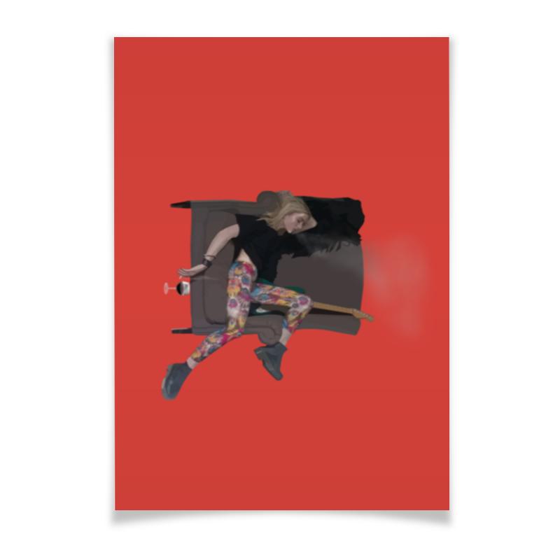 Плакат A3(29.7x42) Printio Woman&wine wine bar food