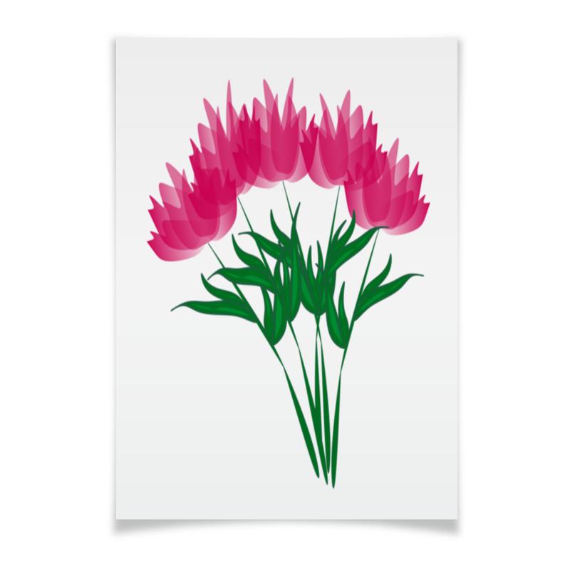 Плакат A3(29.7x42) Printio Розовые абстрактные цветы невидимка для волос funny bunny розовые цветы 2 шт