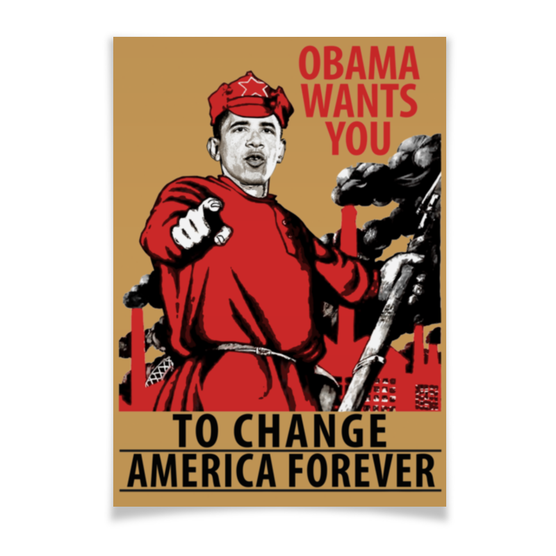 Плакат A3(29.7x42) Printio Obama red army message to obama