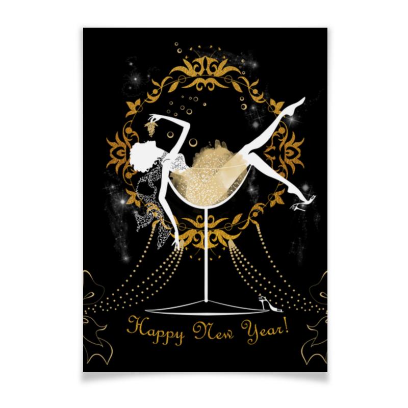 Плакат A3(29.7x42) Printio Красивая девушка в бокале с шампанским плакат a3 29 7x42 printio яркий красивый модный гелакси дизайн паттерн