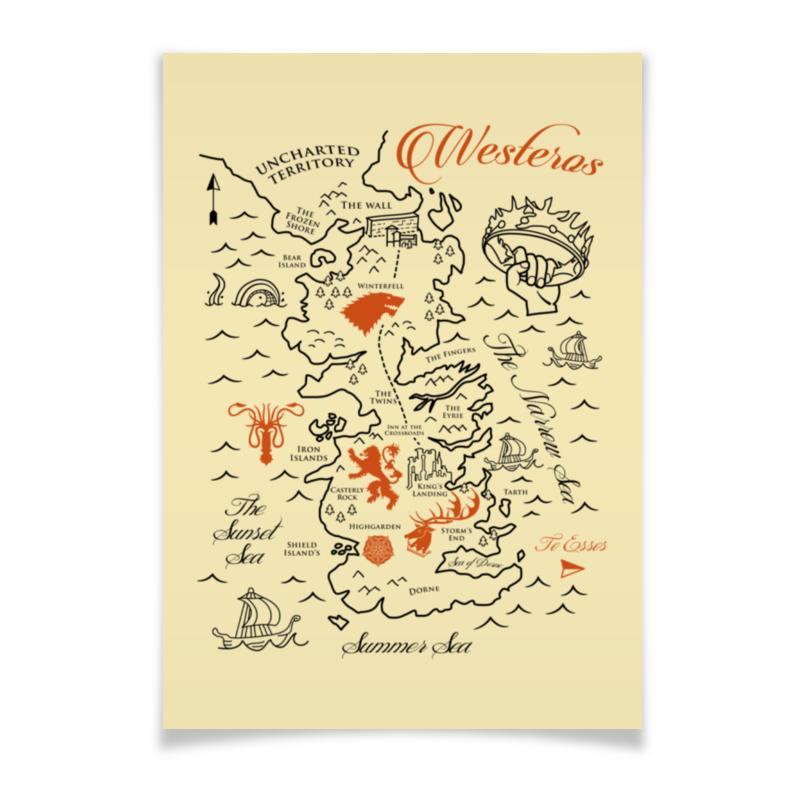 Плакат A3(29.7x42) Printio Карта вестероса. игра престолов плакат a3 29 7x42 printio карта мира