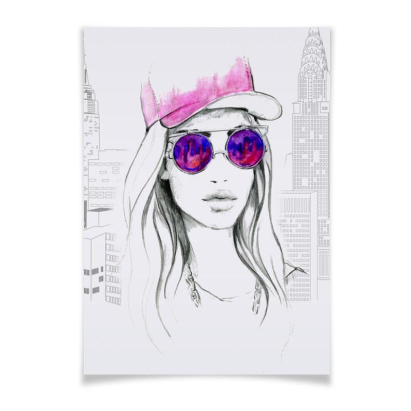 Плакат A3(29.7x42) Printio Фэшн иллюстрация. девушка в розовых очках цена и фото