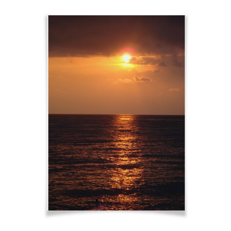 Плакат A3(29.7x42) Printio Ночное море дневник ночное солнце