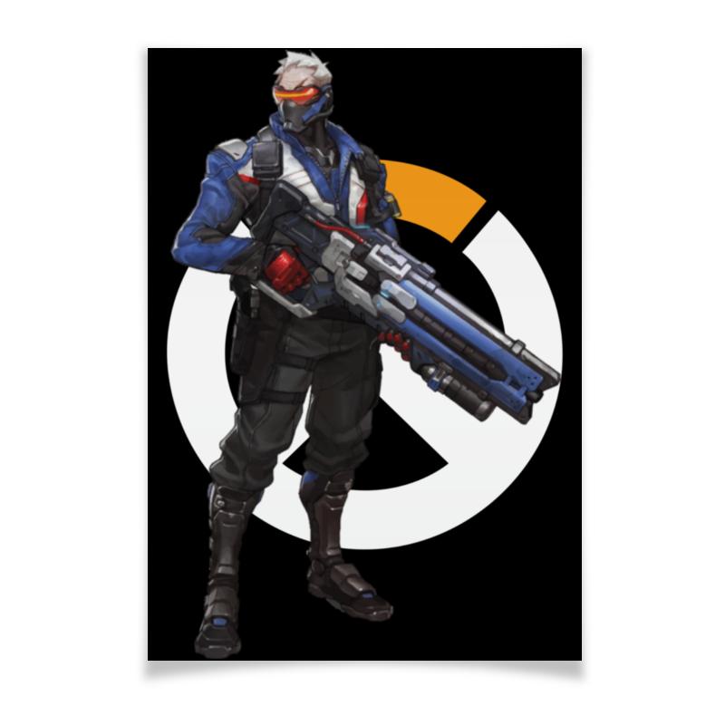 Плакат A3(29.7x42) Printio Overwatch soldier 76 / овервотч солдат 76 шоколадка 35х35 printio апельсины