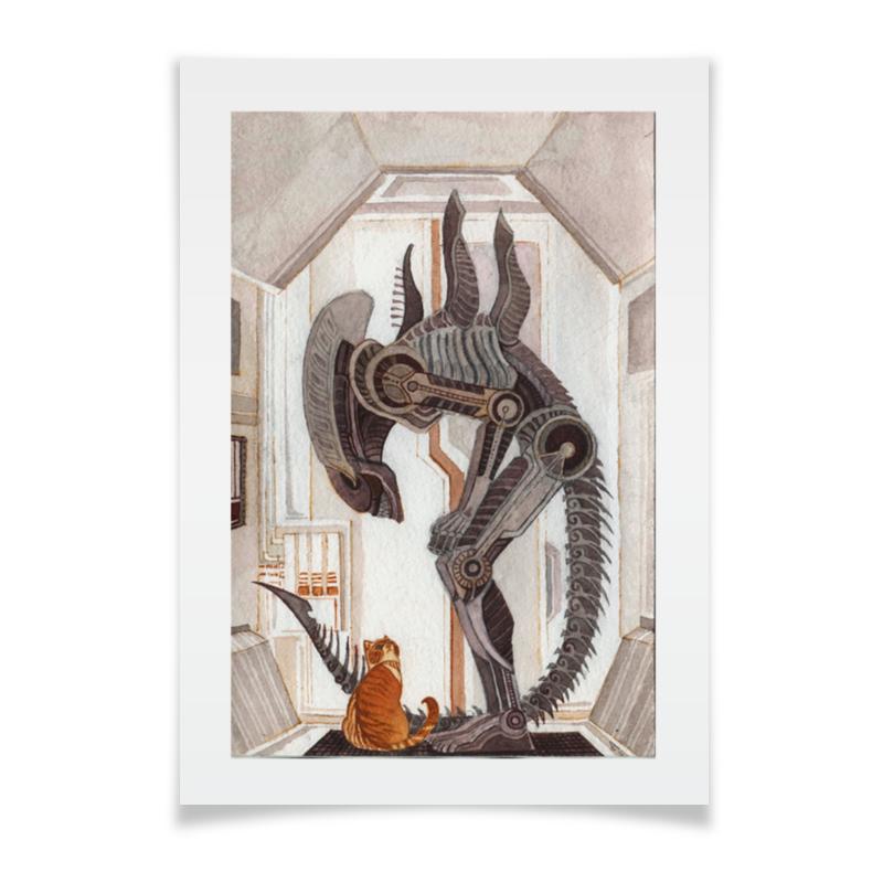 цена Плакат A3(29.7x42) Printio Чужой и котик