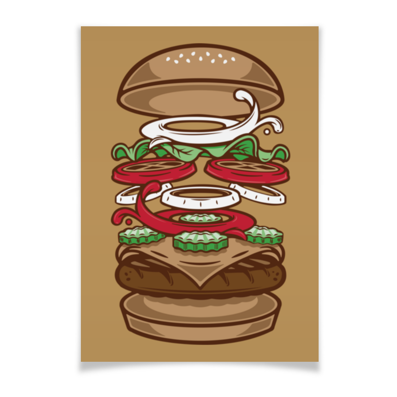 Плакат A3(29.7x42) Printio Burger/бургер beer burger