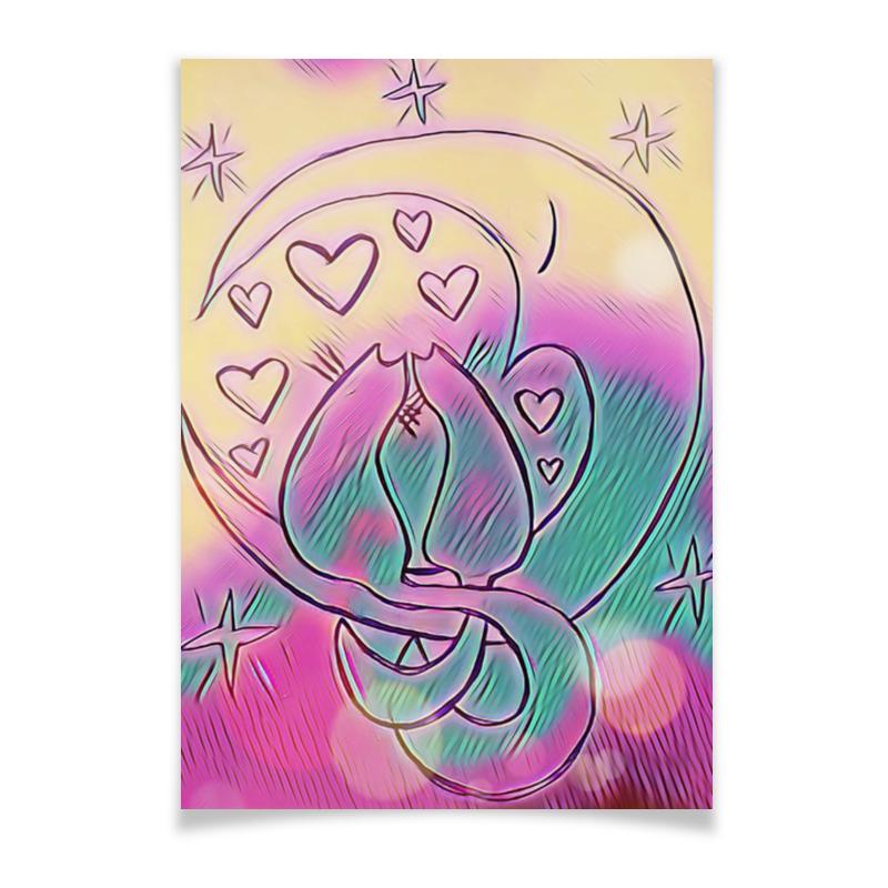 Плакат A3(29.7x42) Printio Влюбленные коты на луне ольга юдина цветныекоты