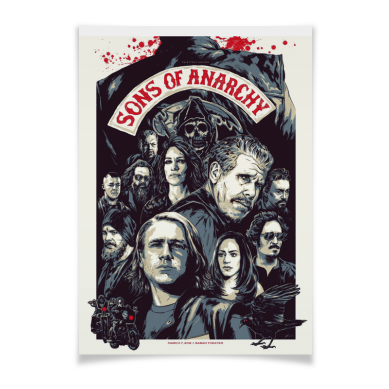 Плакат A3(29.7x42) Printio Sons of anarchy raven 2 sons of thunder