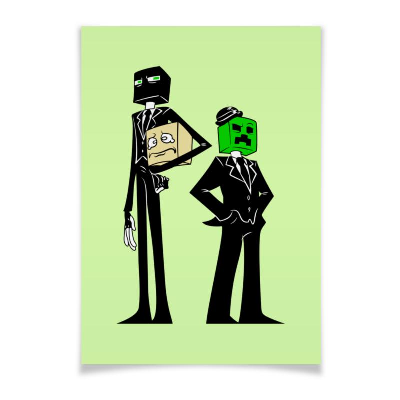 Плакат A3(29.7x42) Printio Крипер и эндермен. майнкрафт jazwares фигурка эндермен 8см minecraft