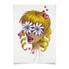 """Плакат A3(29.7x42) """"Без ума от цветов"""" - любовь, девушка, цветы, сердца, блондинка"""