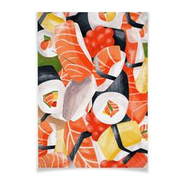 """Плакат A3(29.7x42) """"Суши (горизонтальный)"""" - еда, роллы, суши, япония, рыба"""