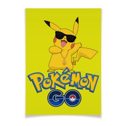 "Плакат A3(29.7x42) ""Pokemon GO"" - игра, покемон, пикачу, доллар, pikachu"