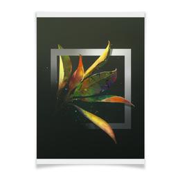 "Плакат A3(29.7x42) ""магнолия"" - цветы, абстракция, рисунок, фантазия, природа"