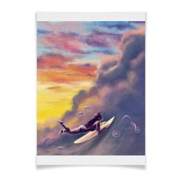 """Плакат A3(29.7x42) """"Нырять в облака"""" - небо, серфинг"""