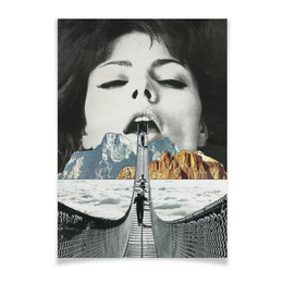 "Плакат A3(29.7x42) ""Шатающийся Мост"" - лицо, губы, мост, рот, айсберг"