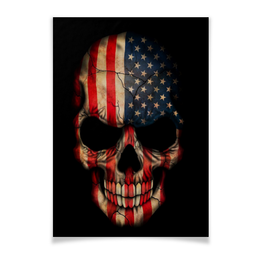 "Плакат A3(29.7x42) ""Череп/Флаг США"" - skull, череп, америка, usa, флаг"