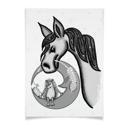 """Плакат A3(29.7x42) """"Ежик на луне и лошадка в тумане"""" - звезды, небо, луна, ежик на луне, лошадка в тумане"""