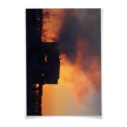 """Плакат A3(29.7x42) """"Рассвет, похожий на пожар"""" - зима, красный, рассвет, пожар, тревожный"""