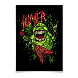"Плакат A3(29.7x42) ""Лизун/Slayer"" - юмор, slayer, охотники на привидений, thrash metal, ghost busters"