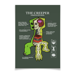"Плакат A3(29.7x42) ""Крипер. Майнкрафт"" - minecraft, майнкрафт, creeper, крипер, геймерские"