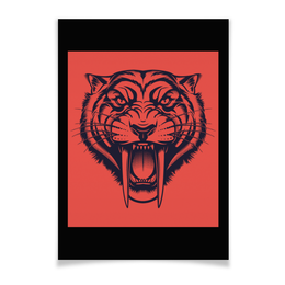 """Плакат A3(29.7x42) """"Саблезубый тигр"""" - рисунок, графика, тигр, саблезубый"""