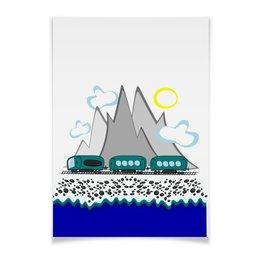 """Плакат A3(29.7x42) """"Путешествие на поезде вдоль моря и гор"""" - отдых, россия, сочи, отпуск, хочу на море"""