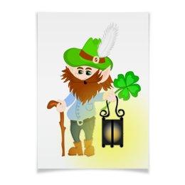 """Плакат A3(29.7x42) """"Лепрекон с фонарем и волшебный клевер"""" - клевер, фонарь, день святого патрика, карлик, четырехлистник"""