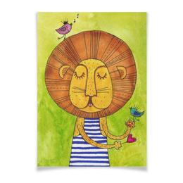 """Плакат A3(29.7x42) """"Лев Бонифаций в тельняжке"""" - лев, акварель, грива, бонифаций, тельняжка"""
