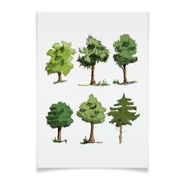 """Плакат A3(29.7x42) """"Сказочный лес"""" - рисунок, деревья, природа, иллюстрация, скетч"""