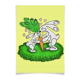 """Плакат A3(29.7x42) """"Зайчишки с морковкой"""" - любовь, подарок, морковка, влюбленность, зайчишки"""