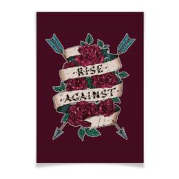 """Плакат A3(29.7x42) """"Rise against"""" - хипстеры, альтернатива, восстать против, розы рисунок"""