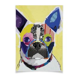 """Плакат A3(29.7x42) """"Собака"""" - рисунок, собака, french bulldog, бульдог, французский бульдог"""