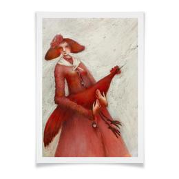 """Плакат A3(29.7x42) """"Красный петух"""" - праздник, арт, новый год, петух"""