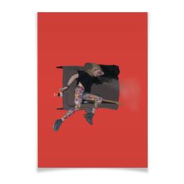 """Плакат A3(29.7x42) """"Woman&wine"""" - девушка, гитара, красивая, рисунок, фон"""