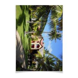 """Плакат A3(29.7x42) """"""""Доминикана. Тропический сад"""""""" - лето, путешествия, travel, пальмы, доминикана"""