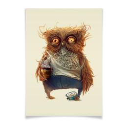 """Плакат A3(29.7x42) """"С добрым утром"""" - сова, кофе, owl, доброе утро сова"""