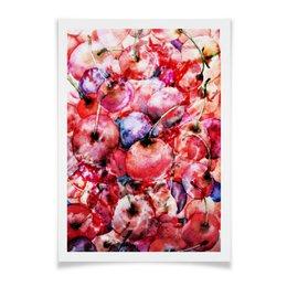 """Плакат A3(29.7x42) """"Вишня россыпью"""" - красный, ягоды, яркий, акварелью, картина акварелью"""