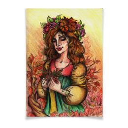 """Плакат A3(29.7x42) """"Богиня Осени"""" - девушка, рисунок, осень, богиня, время года"""