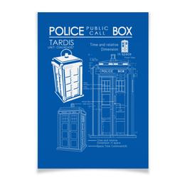 """Плакат A3(29.7x42) """"ТАРДИС"""" - doctor who, tardis, доктор кто, тардис, чертёж тардис"""