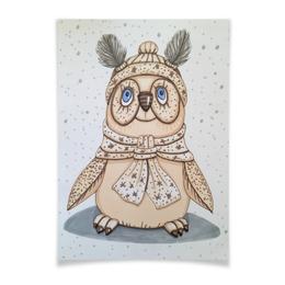 "Плакат A3(29.7x42) ""Совушка"" - зима, бежевый, птица, снег, иллюстрация"
