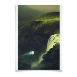 "Плакат A3(29.7x42) ""фантастический пейзаж"" - графика, природа, пейзаж, фантастика, горы"