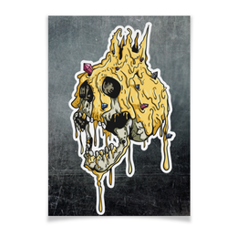 "Плакат A3(29.7x42) ""Gold skull"" - skull, череп, золото, смерть, gold"