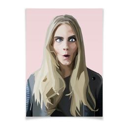 """Плакат A3(29.7x42) """"Модель Кара"""" - девушка, звезда, модель, знаменитость, 2016"""