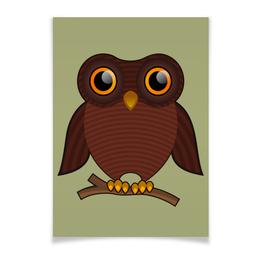 """Плакат A3(29.7x42) """"Совёнок"""" - птица, сова, птичка, совушка, на ветке"""