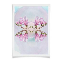 """Плакат A3(29.7x42) """"Магнолия"""" - цветы, весна, розовый, магнолия"""