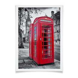 "Плакат A3(29.7x42) ""Лондон, телефонная будка"" - fashion, london, phone booth, лондон, телефонная будка"