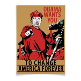 """Плакат A3(29.7x42) """"Obama Red Army"""" - америка, россия, russia, обама, obama"""